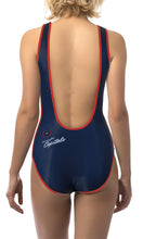 Load image into Gallery viewer, Washington Capitals One Piece Swimsuit for Women, Red and White, BackView.