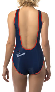 Washington Capitals One Piece Swimsuit for Women, Red and White, BackView.