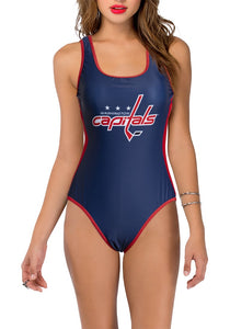 Washington Capitals One Piece Swimsuit for Women, Red and White, Front View.
