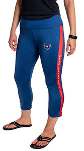 NHL Women's Athletic Capri Workout Leggings- Washington Capitals Front