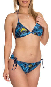 Ladies Corona Bikini- Dark Palm Print Women Wearing The String Bikini
