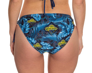 Ladies Corona Bikini- Dark Palm Print String Bikini Bottom Back