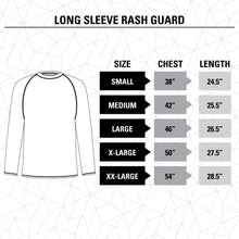 Load image into Gallery viewer, Vegas Golden Knights Jersey Style Long Sleeve Rashguard Size Guide.