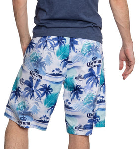 Men's Corona Boardshort- Palm Print Back View Palm Print Blue Green and White