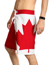 Load image into Gallery viewer, Red and White Canada Boardshort Swim Trunks. Side View. Maple Leaf Down Leg.