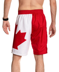 Red and White Canada Boardshort Swim Trunks. Back View.