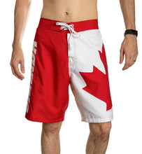 Load image into Gallery viewer, Red and White Canada Boardshort Swim Trunks. Front View.