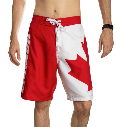 Red and White Canada Boardshort Swim Trunks. Front View.
