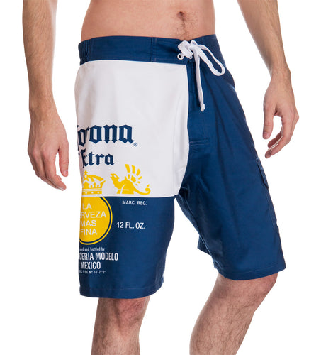 Mens Corona Bottle Label Boardshort - Front View
