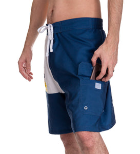 Mens Corona Bottle Label Boardshort - Side Front Angle Pocket View