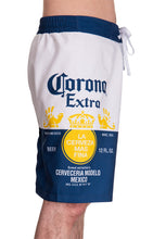 Load image into Gallery viewer, Mens Corona Bottle Label Boardshort - Side Printed Label View