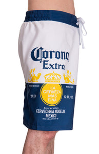 Mens Corona Bottle Label Boardshort - Side Printed Label View