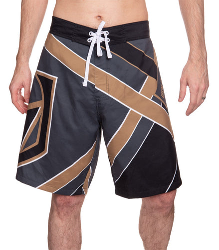 Men's Officially Licensed NHL Diagonal Boardshorts- Vegas Golden Knights Full Front Photo Man Wearing Shorts