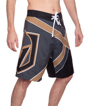 Load image into Gallery viewer, Men's Officially Licensed NHL Diagonal Boardshorts- Vegas Golden Knights Full Side Photo With Full Side Leg Print Logo