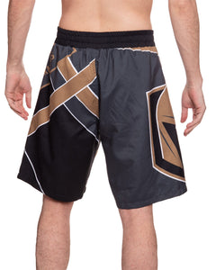 Men's Officially Licensed NHL Diagonal Boardshorts- Vegas Golden Knights Full Back Photo of Man Wearing Shorts