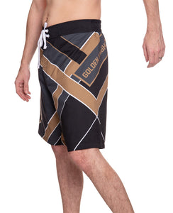 "Men's Officially Licensed NHL Diagonal Boardshorts- Vegas Golden Knights Full Side Photo With ""Golden Knights"" Written Across Thigh"