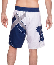 Load image into Gallery viewer, Men's Officially Licensed NHL Diagonal Boardshorts - Toronto Maple Leafs Full Back Photo OF Man Wearing Shorts