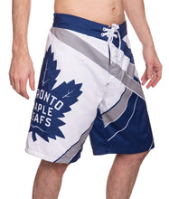 Load image into Gallery viewer, Men's Officially Licensed NHL Diagonal Boardshorts - Toronto Maple Leafs Full Side View With Full Leg Logo Of Maple Leaf With Writting Inside The Maple Leaf