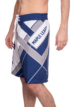 Load image into Gallery viewer, Men's Officially Licensed NHL Diagonal Boardshorts - Toronto Maple Leafs Full Side Photo With Maple Leaf Written Words Across The Thigh