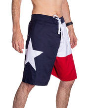 Load image into Gallery viewer, Men's Lone Star State Flag Boardshorts Side With Star Photo