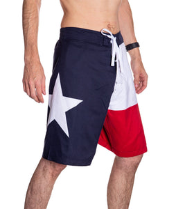 Men's Lone Star State Flag Boardshorts Side With Star Photo