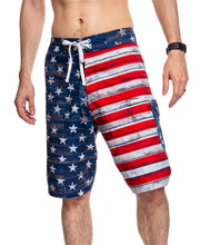 Load image into Gallery viewer, Men's USA Flag Distressed Boardshorts- Barnboard Full Front Image of Shorts