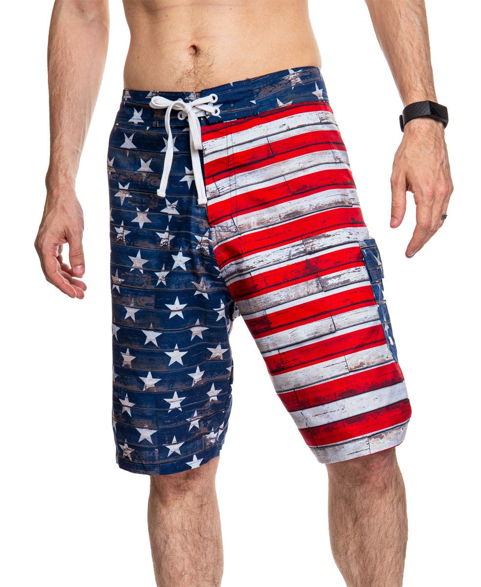 Men's USA Flag Distressed Boardshorts- Barnboard Full Front Image of Shorts