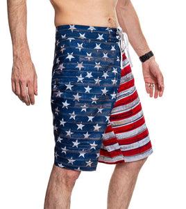Men's USA Flag Distressed Boardshorts- Barnboard Side View With Blue Stars