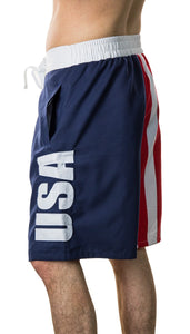 Men's Americana USA Flag Fourth of July Swim Board Shorts USA Side