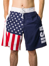 Load image into Gallery viewer, Men's Americana USA Flag Fourth of July Swim Board Shorts Hands In Pockets