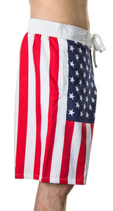 Men's Americana USA Flag Fourth of July Swim Board Shorts Flag Side