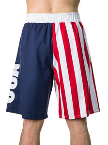 Men's Americana USA Flag Fourth of July Swim Board Shorts Front