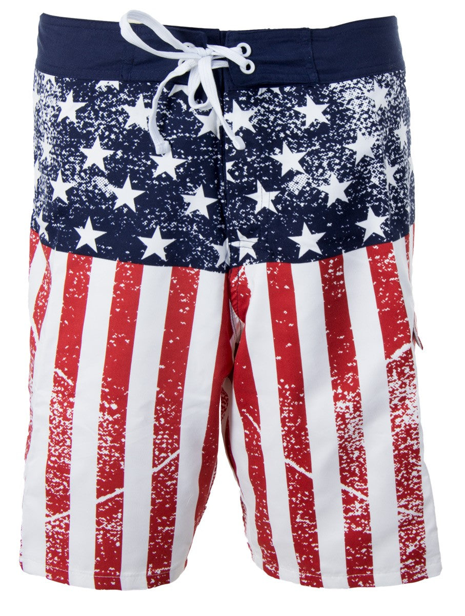 Mens USA Flag Distressed Boardshorts