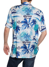 Load image into Gallery viewer, Men's Corona Extra Official Blue Palm Print Camp Shirt Full Back View All Over Print