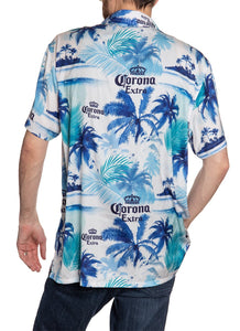 Men's Corona Extra Official Blue Palm Print Camp Shirt Full Back View All Over Print