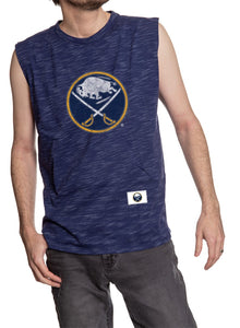 Men's Team Logo Crew Neck Space Dyed Cotton Sleeveless T-Shirt- Buffalo Sabres Man Wearing Shirt Front View With Logo