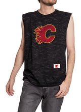 Load image into Gallery viewer, Men's Team Logo Crew Neck Space Dyed Cotton Sleeveless T-Shirt- Calgary Flames Man Wearing Shirt Front View With Logo