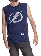 Load image into Gallery viewer, Men's Team Logo Crew Neck Space Dyed Cotton Sleeveless T-Shirt- Tampa Bay Lightning Full Front Logo Tank