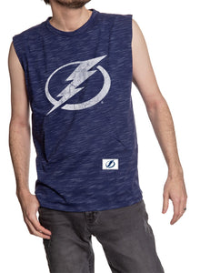 Men's Team Logo Crew Neck Space Dyed Cotton Sleeveless T-Shirt- Tampa Bay Lightning Full Front Logo Tank