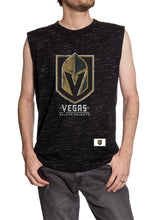 Load image into Gallery viewer, Men's Team Logo Crew Neck Space Dyed Cotton Sleeveless T-Shirt-  Vegas Golden Knights Full Length Front Photo With Full Size Logo