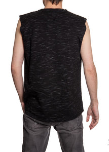 Men's Team Logo Crew Neck Space Dyed Cotton Sleeveless T-Shirt- Calgary Flames Man Wearing Shirt Back View No Logo