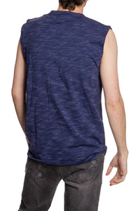 Men's Team Logo Crew Neck Space Dyed Cotton Sleeveless T-Shirt- Edmonton Oilers Full Back Photo No Logo