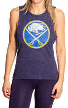Load image into Gallery viewer, Ladies NHL Team Logo Crew Neck Space Dyed Sleeveless Tank Top Shirt- Buffalo Sabres Full Front View With Logo Screen Printed On