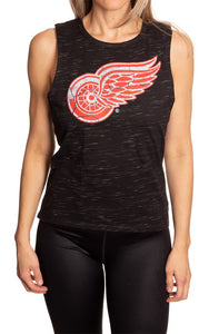 Ladies NHL Team Logo Crew Neck Space Dyed Sleeveless Tank Top Shirt- Detroit Red Wings Full Length Front View Photo WIth Logo