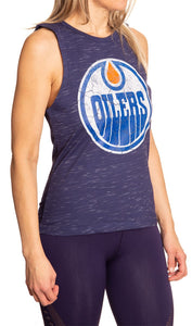 Ladies NHL Team Logo Crew Neck Space Dyed Sleeveless Tank Top Shirt- New York Islanders Full Length Side View