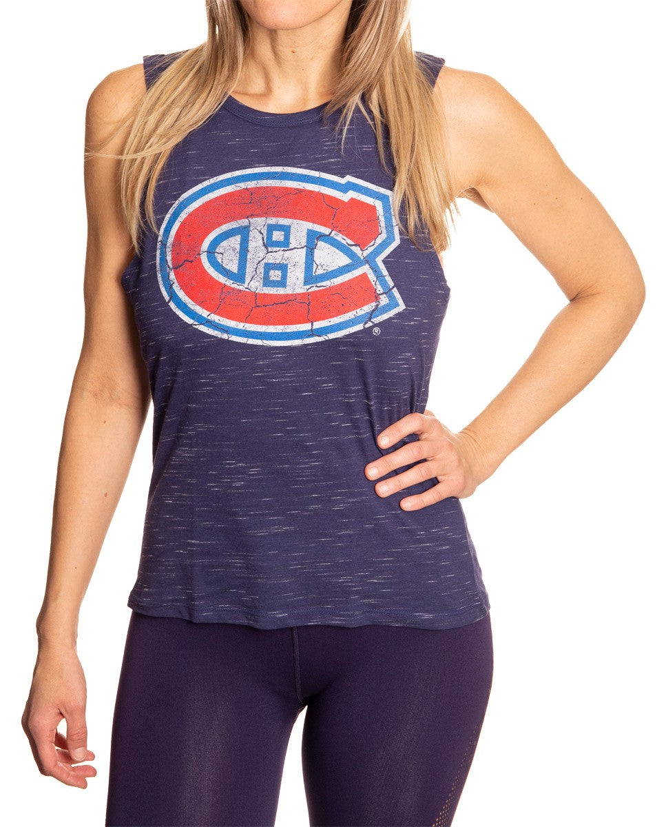 Ladies NHL Team Logo Crew Neck Space Dyed Sleeveless Tank Top Shirt- Montreal Canadiens Full Front Logo