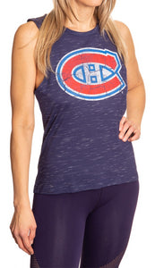 Ladies NHL Team Logo Crew Neck Space Dyed Sleeveless Tank Top Shirt- Montreal Canadiens Full Side View With Logo