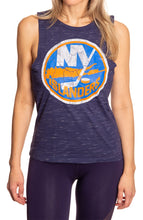 Load image into Gallery viewer, Ladies NHL Team Logo Crew Neck Space Dyed Sleeveless Tank Top Shirt- New York Islanders Full Length Front View With Logo