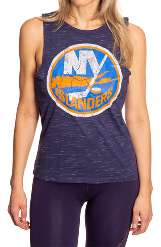 Ladies NHL Team Logo Crew Neck Space Dyed Sleeveless Tank Top Shirt- New York Islanders Full Length Front View With Logo