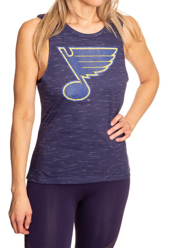 Ladies NHL Team Logo Crew Neck Space Dyed Sleeveless Tank Top Shirt- St. Louis Blues Full Length Front View With Team Logo